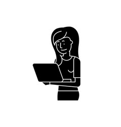 girl with laptop black icon sign on vector image