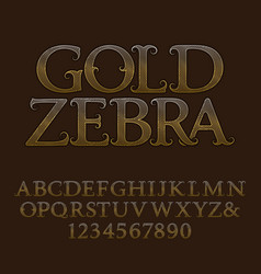 Golden wavy patterned capital letters and numbers vector