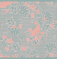 Green pink flowers on stripes seamless vector