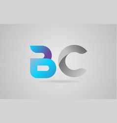 Grey blue alphabet letter bc b c logo icon design vector