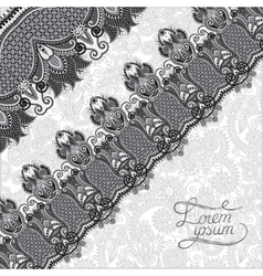 Grey ornamental background with flower ribbon vector