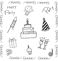 Hand draw of doodle birthday vector