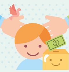 Hands and boy cardboard box money donate charity vector