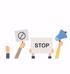 Hands with protests placards banner and placards vector