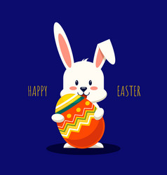 happy easter day decorative with rabbit and fancy vector image