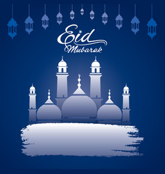 Happy eid mubarak greeting design vector