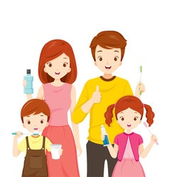 Happy Family With Teeth Cleaning Accessories vector