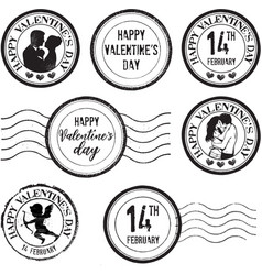 happy valentines day stamp set vector image