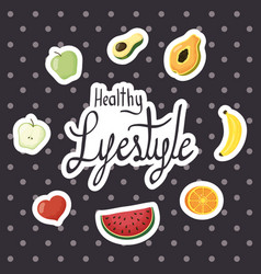 Healthy lifestyle lettering with set icons vector