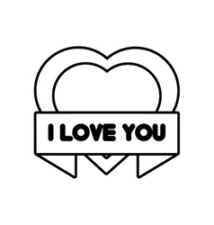 heart i love you ribbon outline vector image