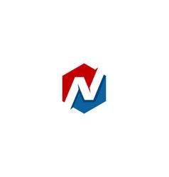hexagon letter n logo icon design vector image