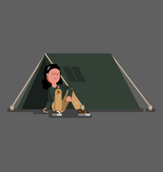 homeless girl siting vector image