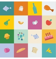 Icons food and products in flat style vector