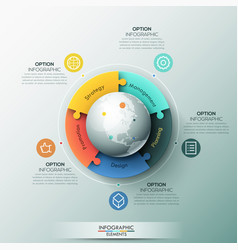 Infographic design template 5 connected jigsaw vector