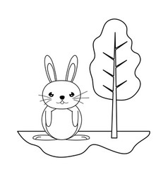 Line cute male rabbit animal in the landscape vector