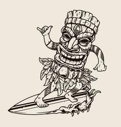 Man in hawaiian tiki mask surfing wave vector