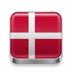 Metal icon of Denmark vector image