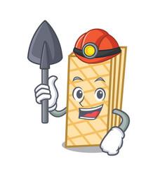 Miner waffle mascot cartoon style vector