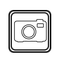 Monochrome contour of button with analog camera vector