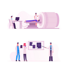 Mri scanning procedure set doctors looking at vector