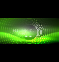 neon circles abstract background shiny lines vector image