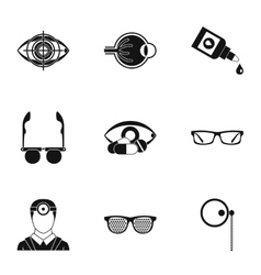 Ophthalmology icons set simple style vector