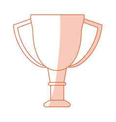 Orange shading silhouette cartoon cup trophy vector