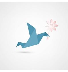Origami bird with flower vector