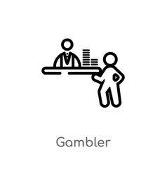 Outline gambler icon isolated black simple line vector