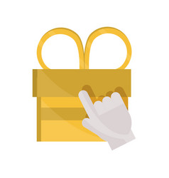 Payments online clicking gift box surprise flat vector