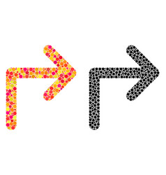 Pixel turn right mosaic icons vector