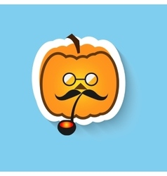 Pumpkin hipster round glasses and Smoking pipe vector