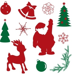set christmas silhouette shapes vector image