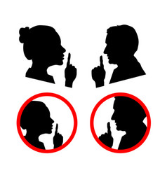 Set face profiles with hands shhh icon vector