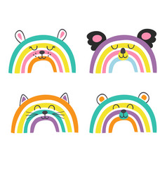set isolated cute baanimals rainbows part 2 vector image