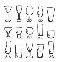 Set of doodle stemware vector