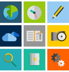 Set of flat universal icons vector image