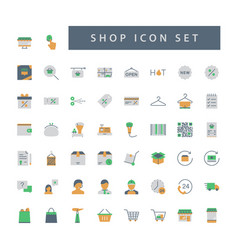 shop supermarket icon set with colorful modern vector image