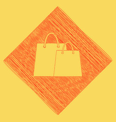 shopping bags sign red scribble icon vector image