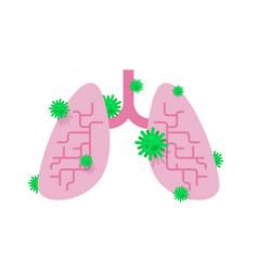 Sick lungs diseased internal organ aching viruses vector