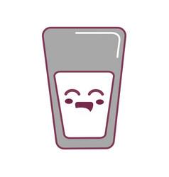Silhouette kawaii cute happy juice glass vector