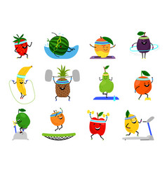 Sport fruits characters funny fruit foods on vector