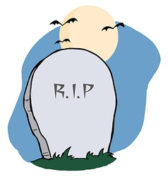 Stone RIP Headstone In A Cemetery vector image