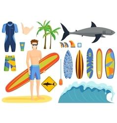 Surfing set vector