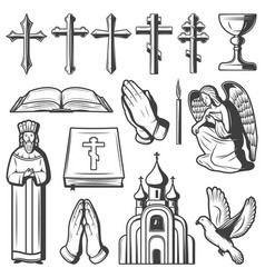 Vintage religious elements collection vector