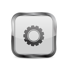 Web button settings square 3d icon with metal vector