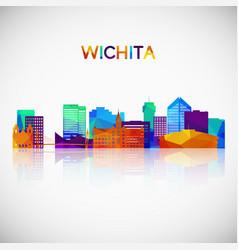 Wichita skyline silhouette in colorful geometric vector