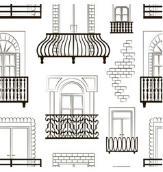 Window forms icons set balcony pattern vector