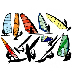 windsurfer silhouettes vector image