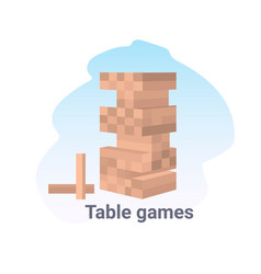 wood block stack tower table game concept vector image